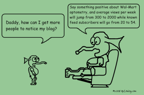 Optoblog Comic #19 Mention something good about Wal-Mart to increase readership