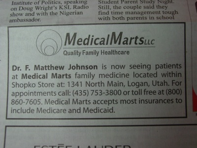 Newspaper ad for family doctor inside Shopko