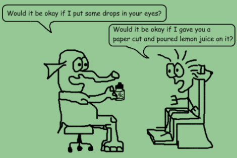 Optoblog Comic #4 Would you like to get some eyedrops?